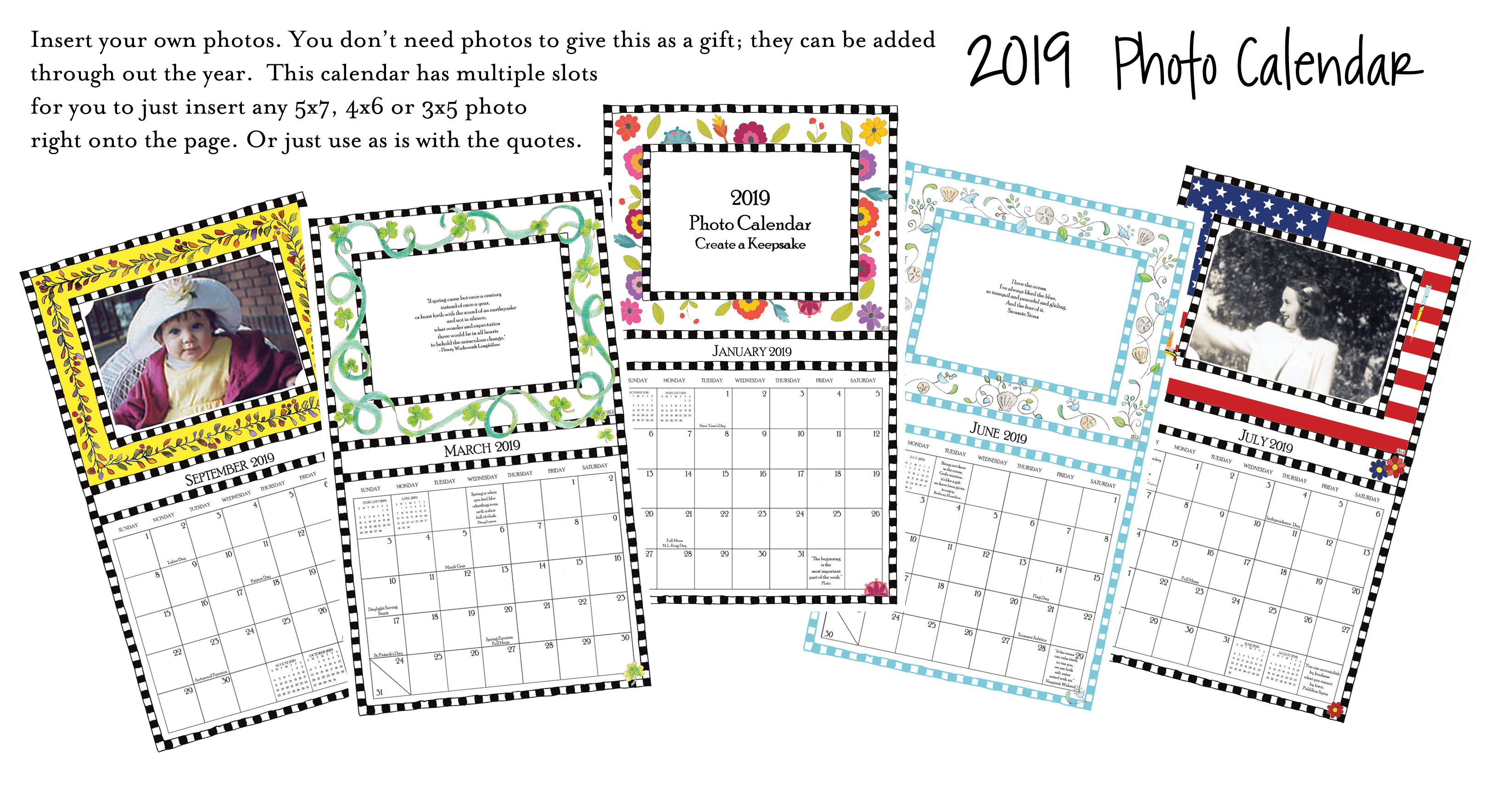 2019 Photo Calendar - all new designs, ready to ship