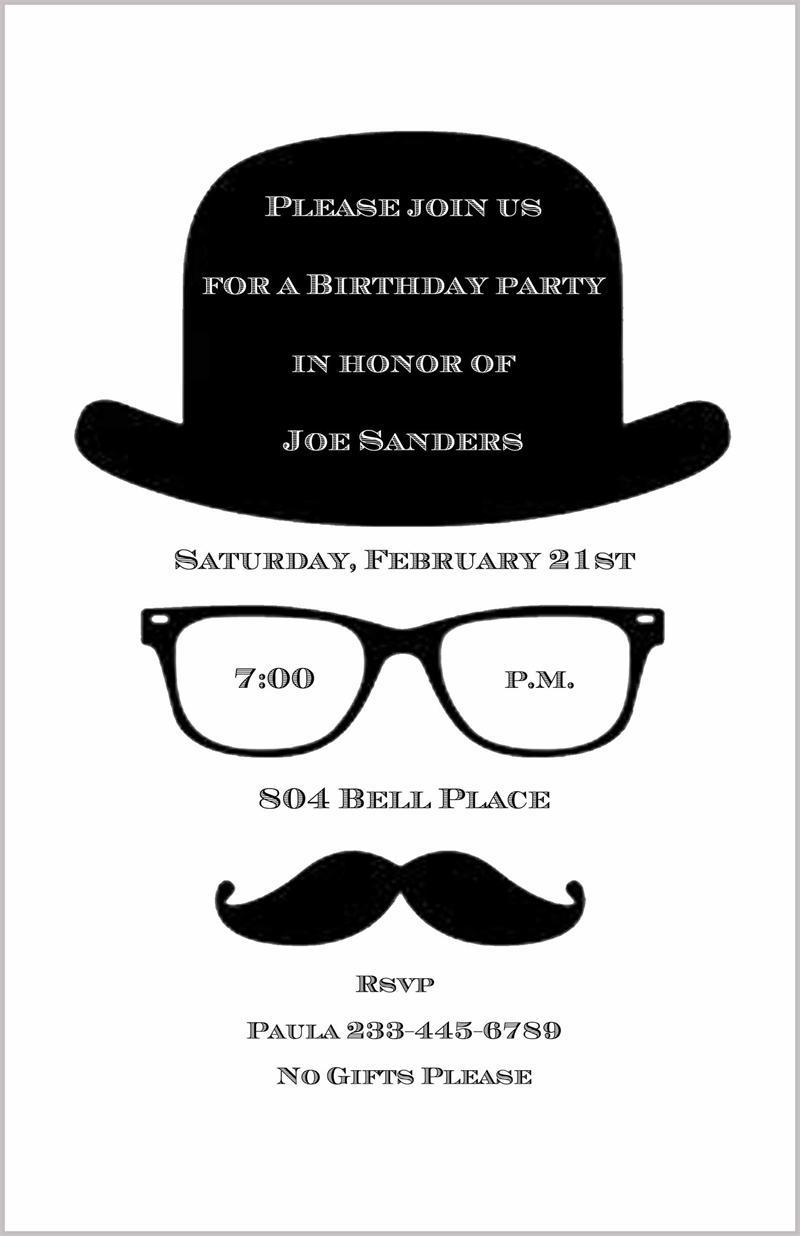 Mustache, Derby & Eyeglasses Invitation
