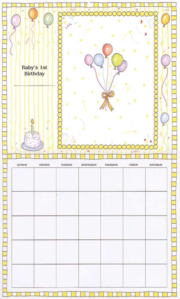 Baby Calendar Design : Baby s first year calendar rose street design